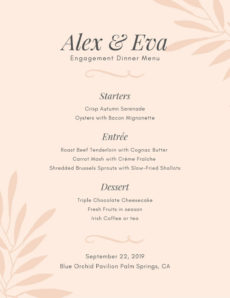free dinner party menu template ~ addictionary tea party menu template example