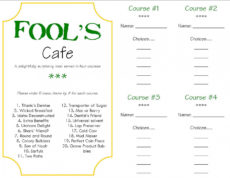 free fool's cafe  a surprise dinner tradition  my insanity mystery dinner menu template doc