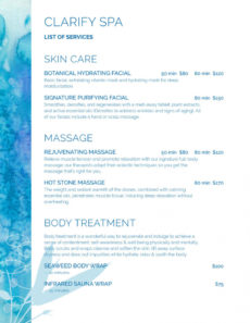 free spa menu templates and designs from imenupro massage menu template doc