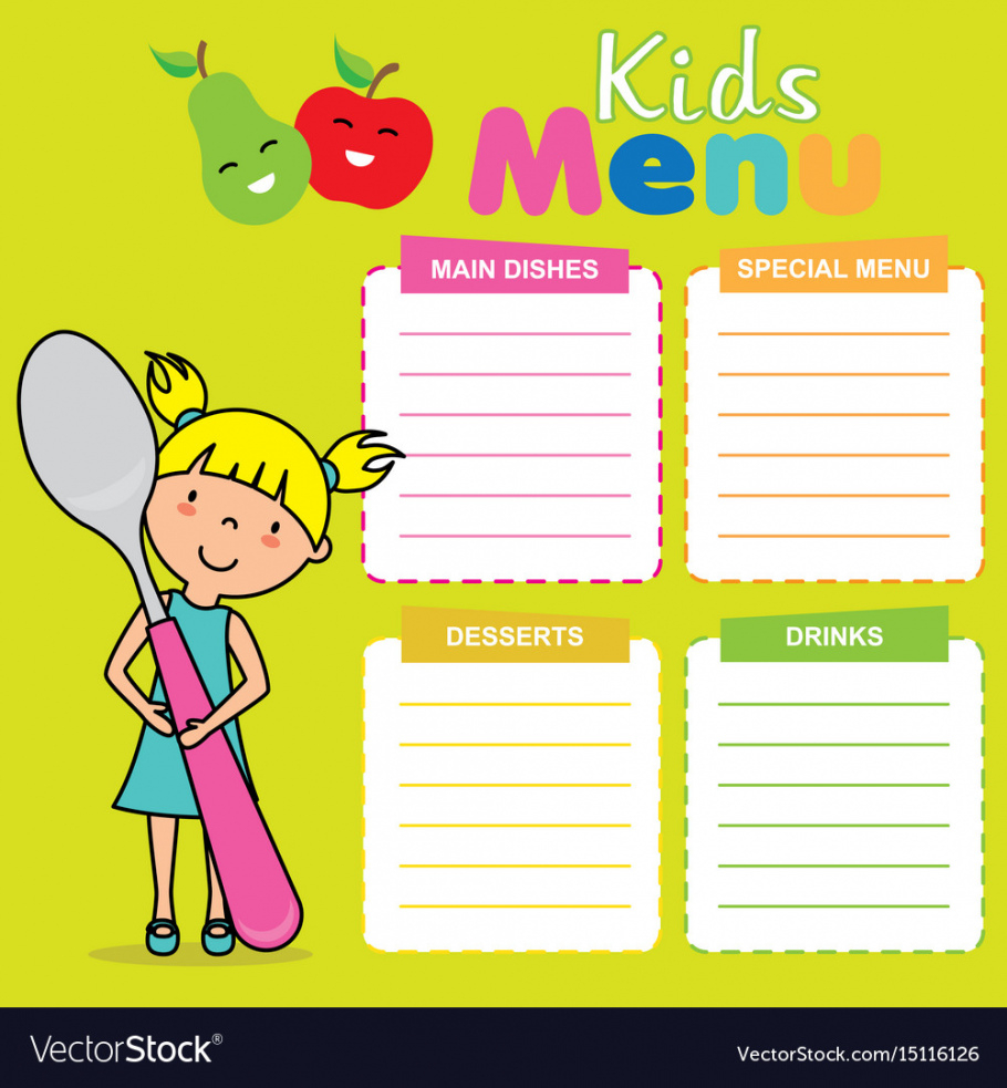 kids menu template royalty free vector image  vectorstock restaurant kids menu template
