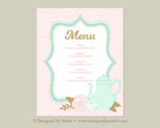 printable 14 tea party menu examples  psd ai  examples tea party menu template example