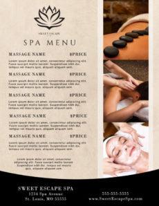 printable beautiful spa menu template  mycreativeshop massage menu template word