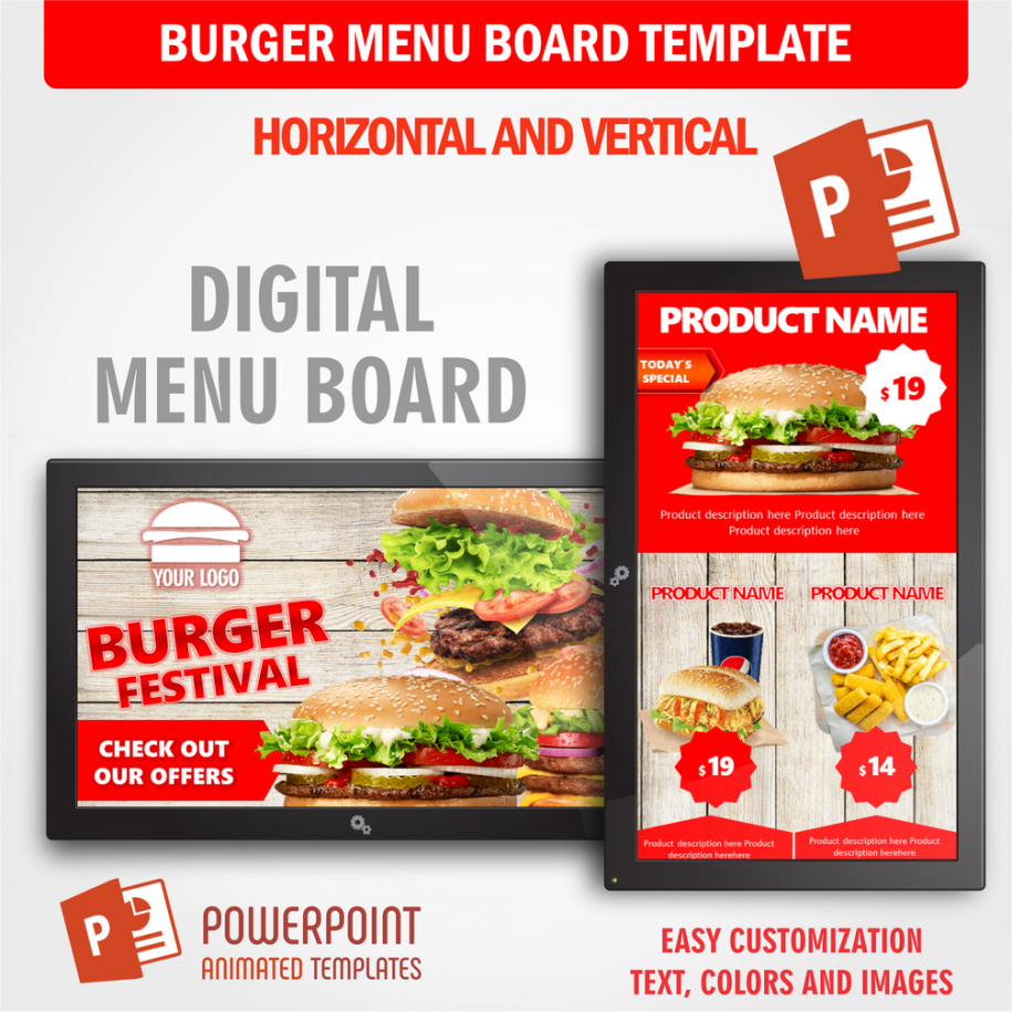 printable burger festival  digital signage animated powerpoint template digital  food menu board fast food menu board template excel