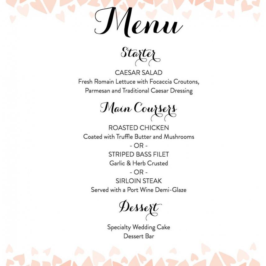 printable download a free wedding menu template wedding dinner menu template sample