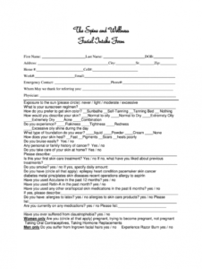 printable facial client consultation form pdf  fill online printable facial client consultation form template pdf