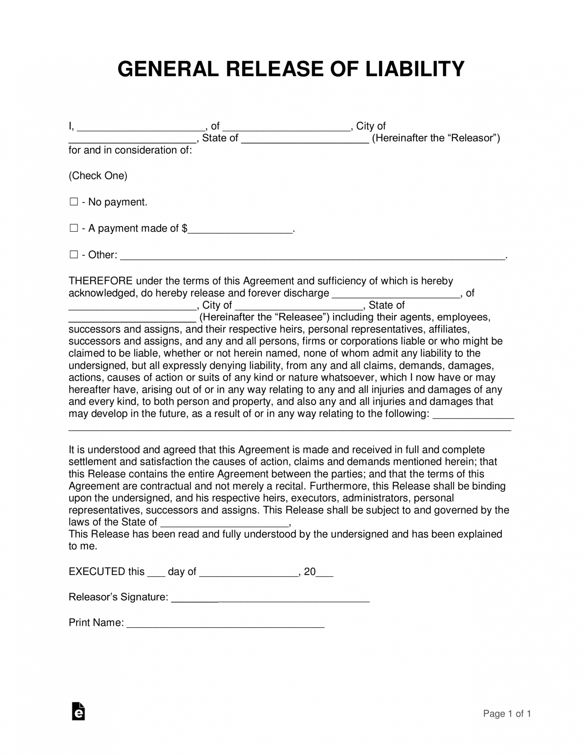 printable free release of liability hold harmless agreement template property liability release form template pdf