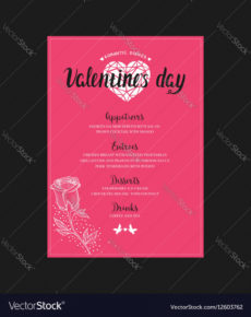 printable menu template for valentine day dinner royalty free vector valentines day menu template