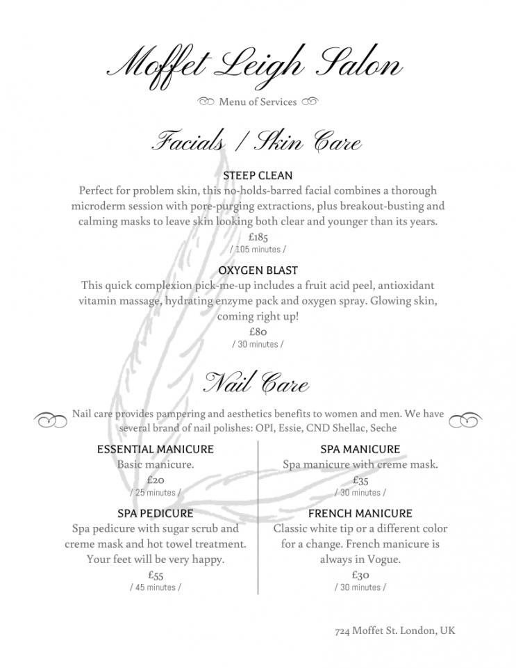 printable salon menu templates from imenupro nail salon service menu template pdf