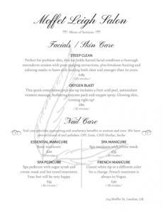 printable salon menu templates from imenupro salon service menu template excel