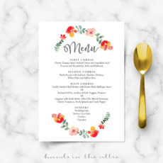 red floral wedding dinner menu template wedding dinner menu template doc