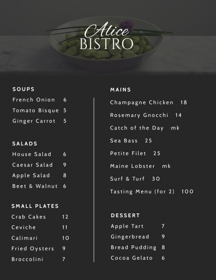 sample cafe bistro menu template  mycreativeshop bistro menu template word