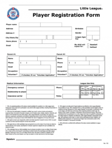 sample football player registration form template word  fill baseball tournament registration form template example