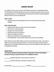 sample free 5 sample damage waiver forms in ms word  pdf damage release form template sample