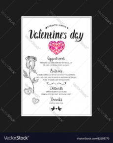 sample menu template for valentine day dinner royalty free vector valentines day menu template example