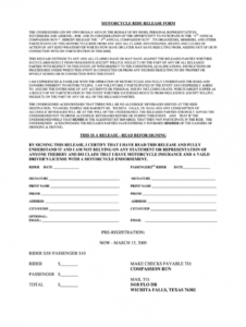 sample motorcycle poker run waiver form  fill online printable motorcycle club membership application form template sample