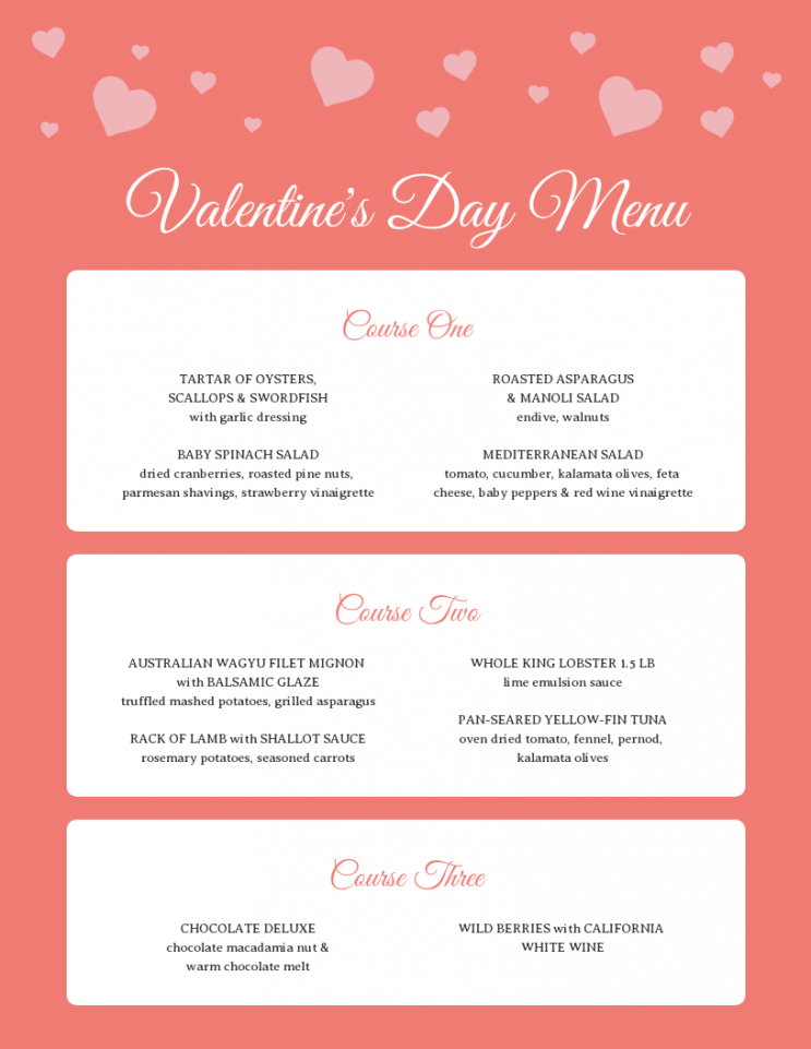 sample romantic valentine's day pre fixe menu template valentines day menu template excel