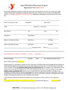sample sample registration form for after school program  fill after school registration form template example