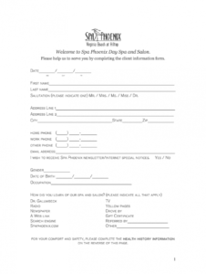 sample spa client intake form template  fill online printable facial client consultation form template pdf