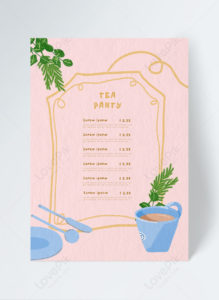 simple afternoon tea tea illustration restaurant menu tea party menu template word