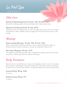 spa menu templates and designs from imenupro massage menu template sample