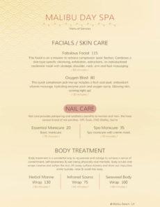 spa services menu templates  deola nail salon service menu template