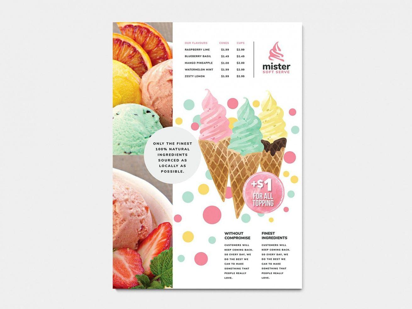a4 ice cream postermenu template in psd ai & vector ice cream menu template sample
