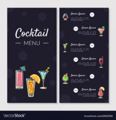 cocktail menu template alcoholic bar menu vector image bar drinks menu template