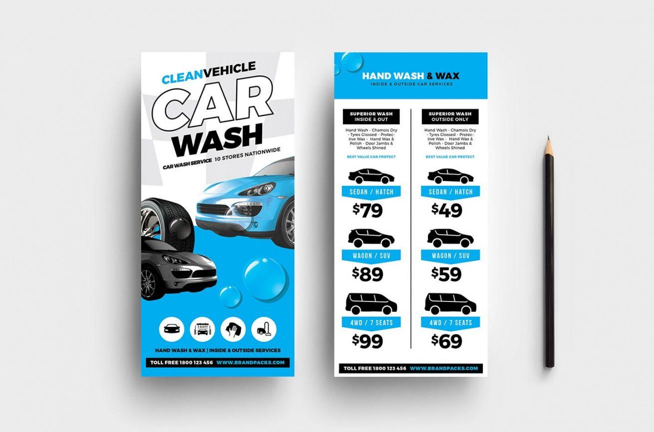 editable car wash dl card template in psd ai & vector  brandpacks car wash menu template word