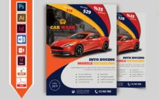 editable car wash flyer template vol02 car wash menu template