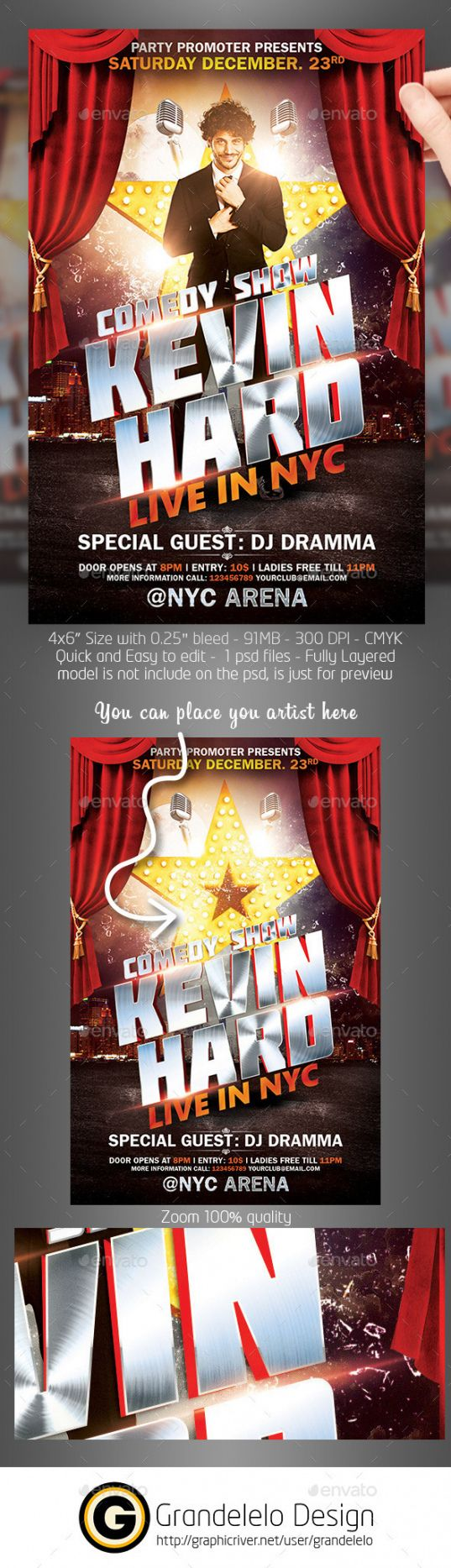 editable comedy show flyer template psd on behance comedy show poster template sample