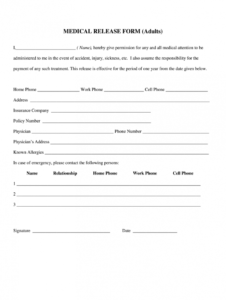 editable medical release form  fill online printable fillable emergency medical release form template example