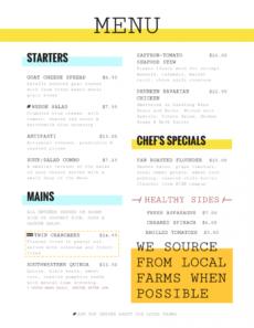 editable menu templates for restaurants · imenupro daily specials menu template doc