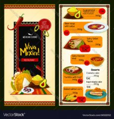 editable mexican cuisine restaurant menu template vector image mexican food menu template pdf