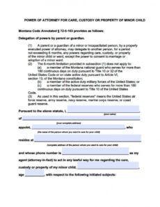 editable montana minor child power of attorney form  power of power of attorney child form template sample