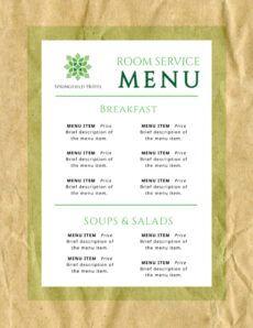 editable room service hotel menu template  mycreativeshop room service menu template doc