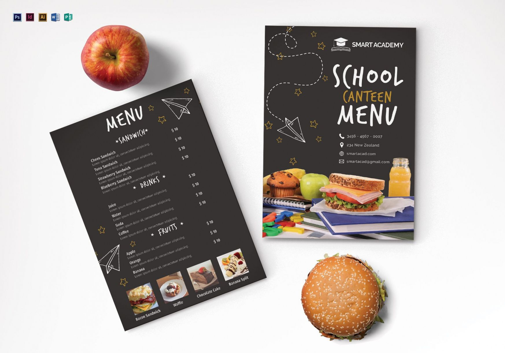 editable school canteen menu design template in psd word publisher school canteen menu template example
