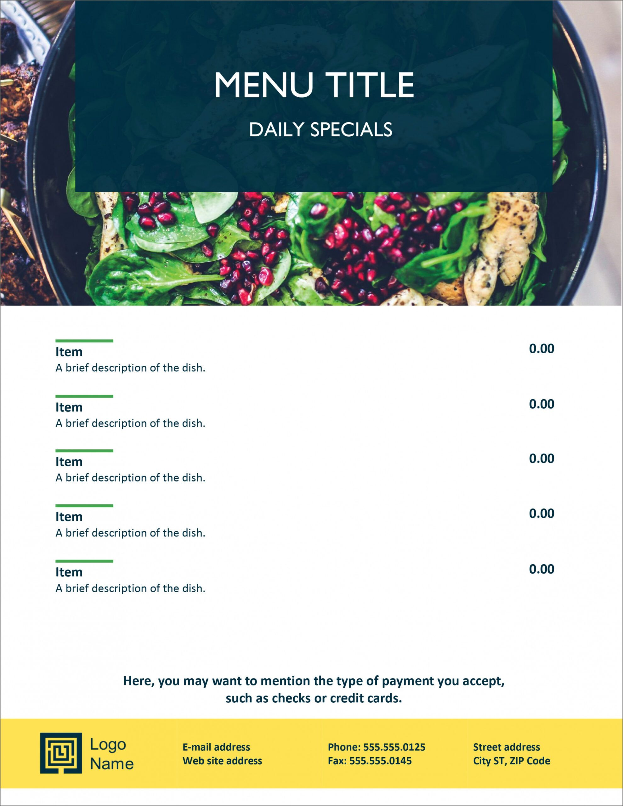 free 32 free simple menu templates for restaurants cafes and daily specials menu template doc