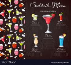 free bar menu design template for cocktail drinks vector image bar drinks menu template