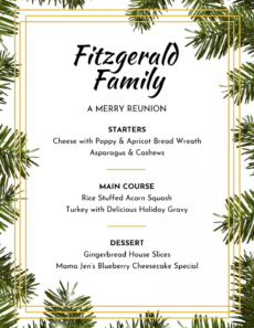 free leaf themed christmas menu template holiday menu template example