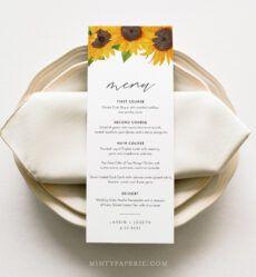 free sunflower menu template wedding dinner menu card printable baby shower menu template example