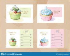free template  vector dessert menu template set with watercolor cupcake menu template example