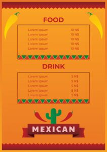 mexican food menu template  download free vectors clipart mexican food menu template sample