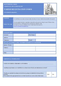 parish registration form  donnybrook parish parish registration form template doc