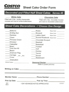 printable costco cake order  fill online printable fillable blank custom cake order form template doc