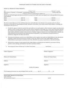printable download florida minor child power of attorney form  pdf power of attorney child form template