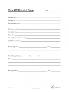 printable time off request form template pdf  fill online printable employee vacation request form template sample