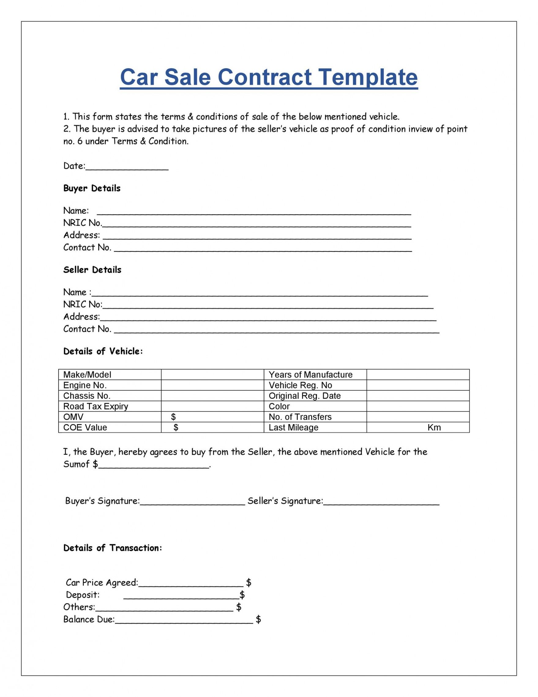 sample 42 printable vehicle purchase agreement templates ᐅ templatelab auto sale form template