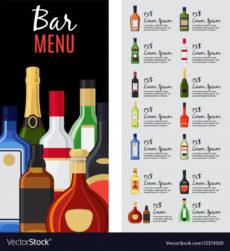 sample alcohol drinks menu template royalty free vector image bar drinks menu template pdf