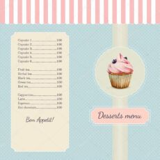 sample confectionery menu template with watercolor cupcake illustration 74057515 cupcake menu template word