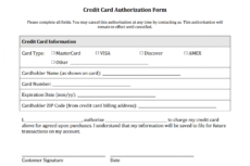 sample credit card authorization form templates download credit card billing authorization form template word